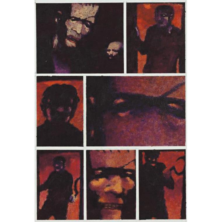 437€ Deprez, Frankenstein, encres de couleur pour la planche35 de l'album, éditions Casterman, 2003, 25x37cm.SalleV.V., 4décembre2