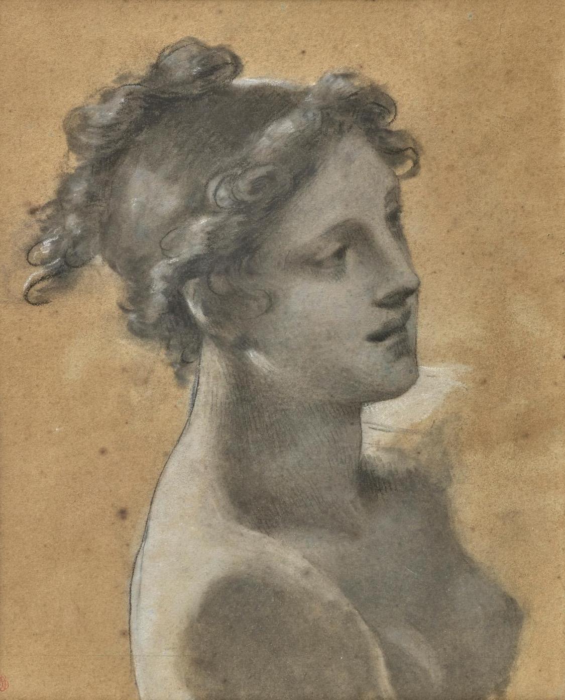"""Pierre-Paul Prud'hon (1758-1823), Étude pour la jeune femme en avant de la barque du tableau """"Le Rêve du bonheur"""" (Study for the Young Wom"""