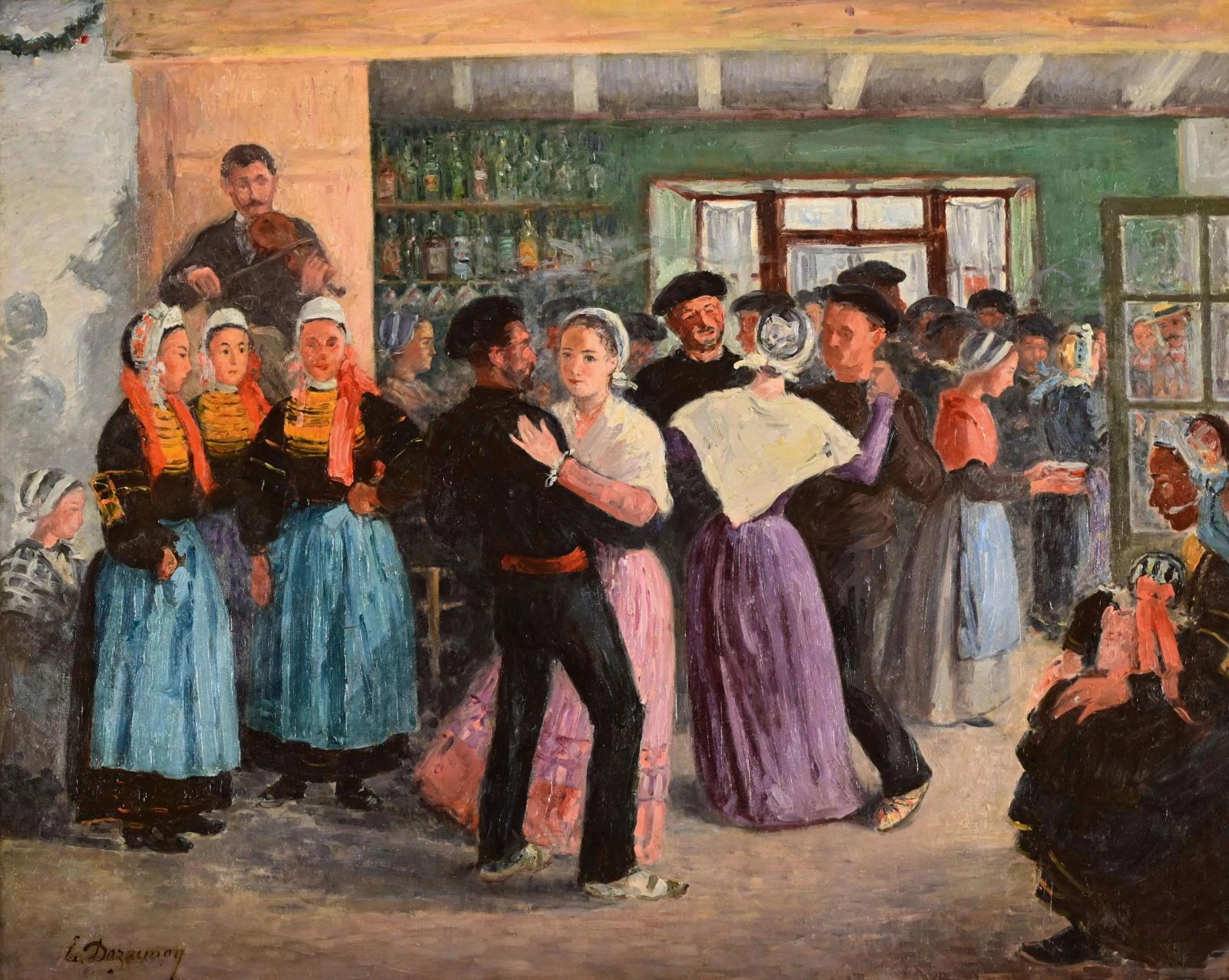 Le Nantais Émile Dezaunay (1854-1938) sera également présent avec cette huile sur toile décrivant une scène traditionnelle bretonne, un Ba