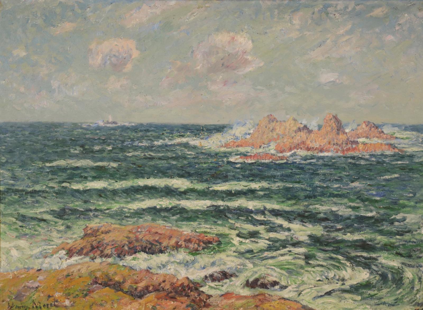 Incontournable en Bretagne, le peintre Henry Moret (1856-1913) sera présent lors de cette vente au travers de deux paysages maritimes, cet