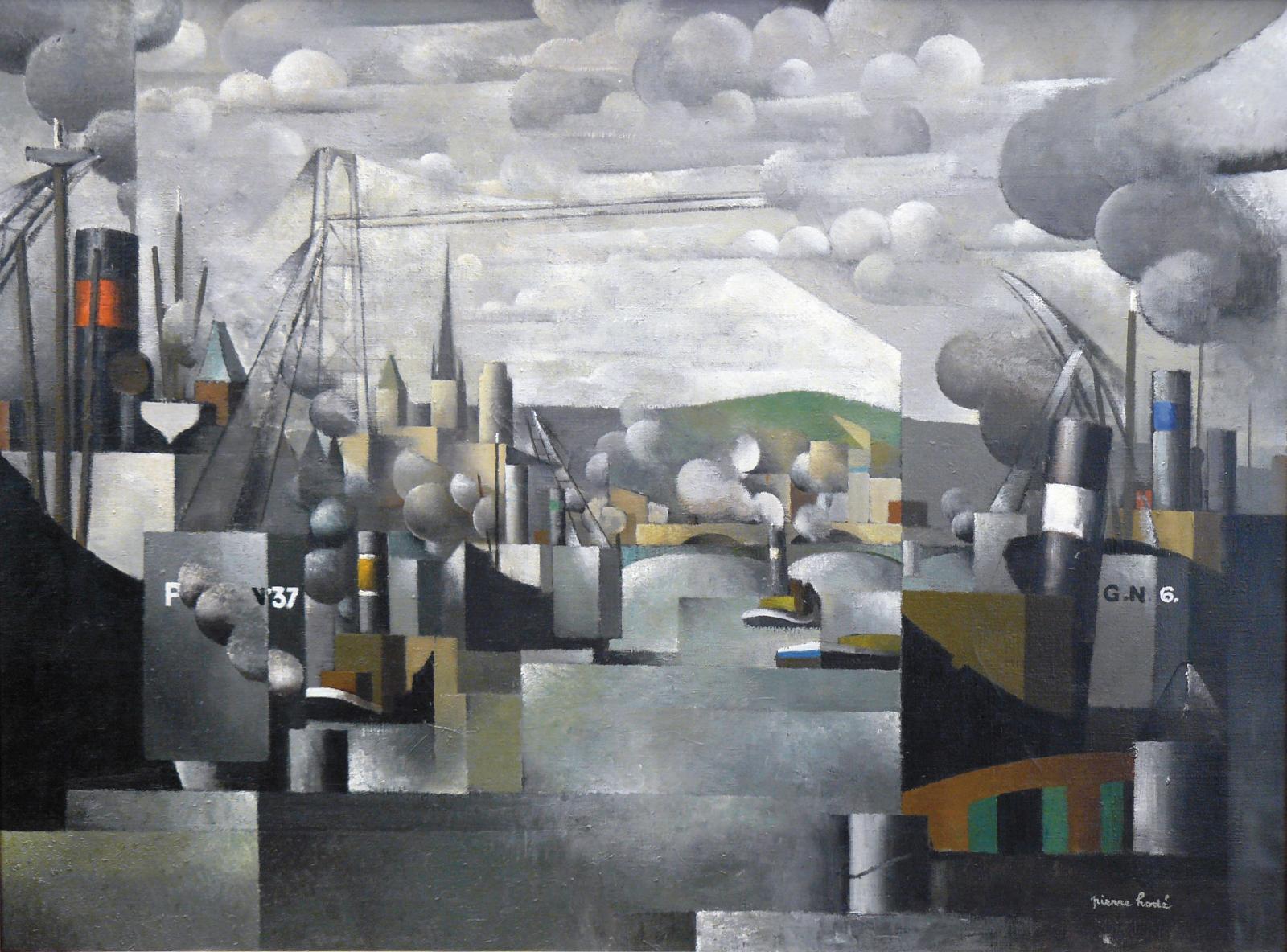 Pierre Hodé (1889-1942), Le Port de Rouen, 1924, huile sur toile signée en bas à droite et désignée au dos sur la toile, 97x130cm. Adju
