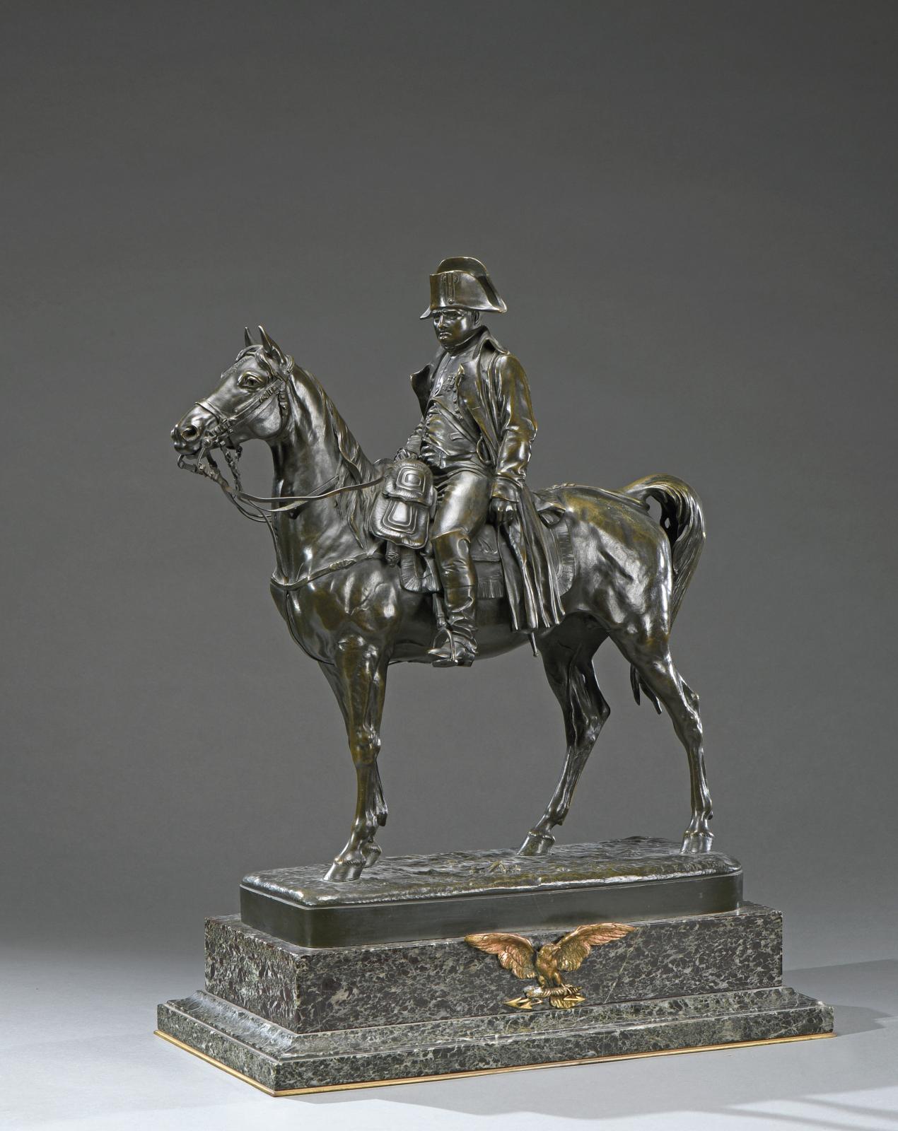 Jules-Edmond Masson (1871-1932), Napoléon Bonaparte, sculpture en bronze patiné, signée sur la terrasse «J.E.Masson», gravée «Susse Fres.