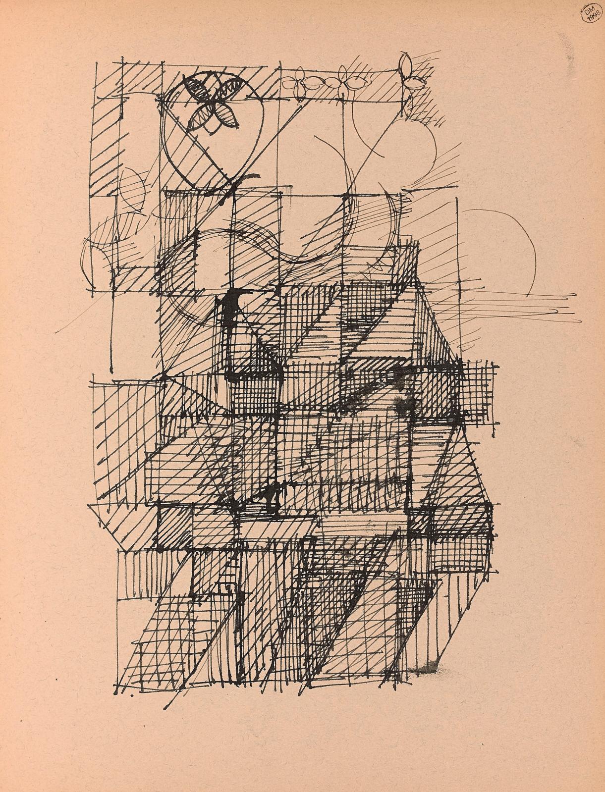 Cette Étude géométrique à l'encre sur papier (600/800 €) est située autour de 1966, date d'un carnet d'études aux croquis similaires. En 1