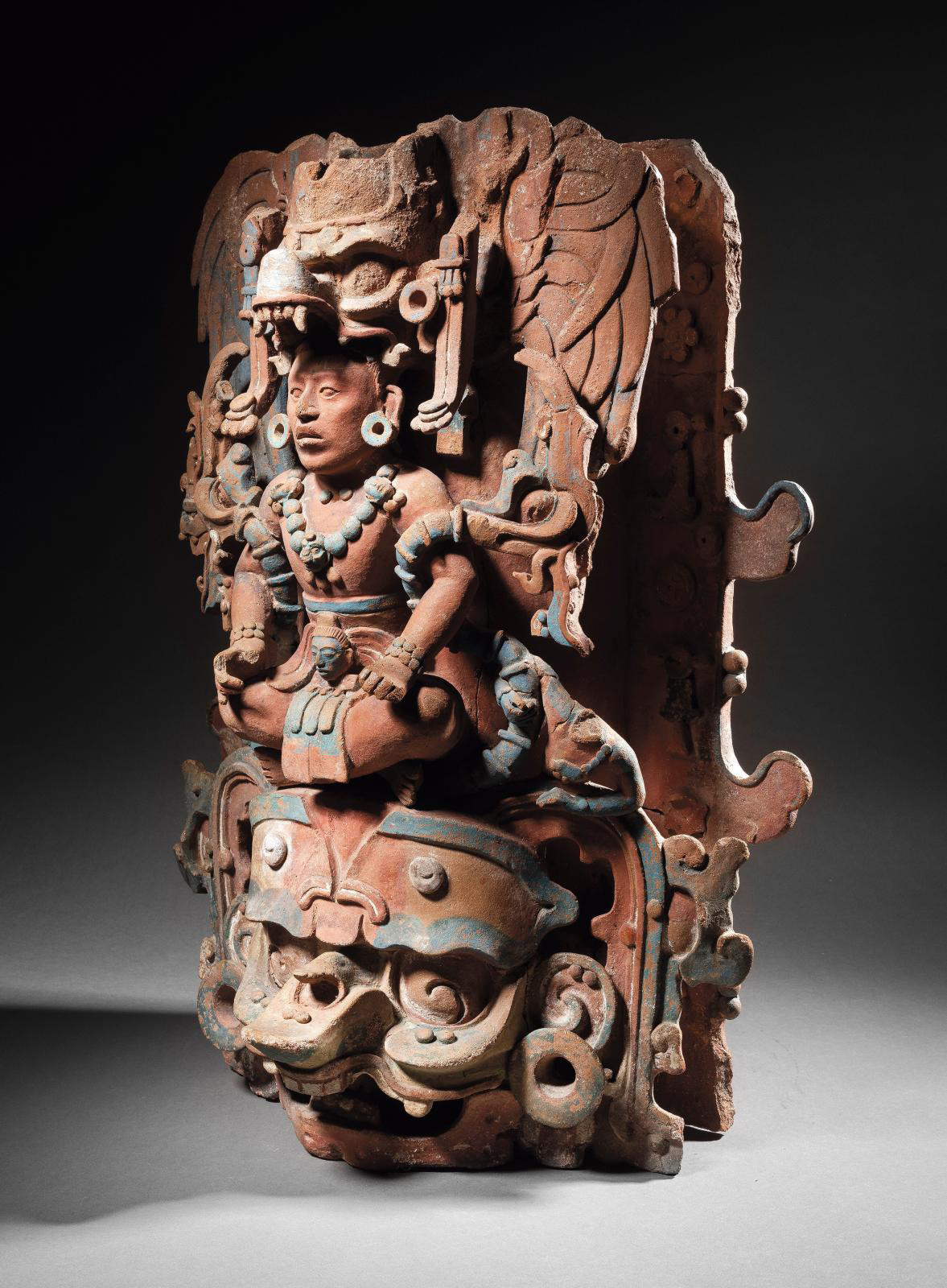 Mexico, Chiapas, Maya culture, 600–900, incense stand depicting a seated lord, polychrome modeled ceramic, 58 x 40 x 36 cm/22.83 x 15.75 x