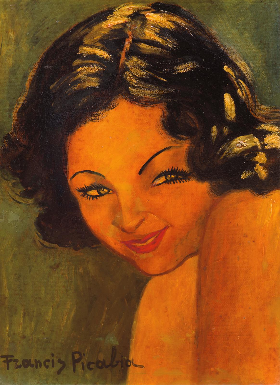 Francis Picabia (1879-1953), Portrait de femme et visage superposé (Portrait of a Woman and Superimposed Face), c. 1938-1939, and Tête de