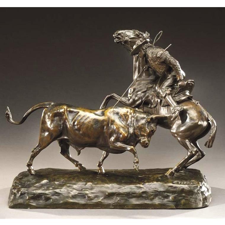 875€ Giovanni Ferrari(1907-1982), Scène de tauromachie, bronze à patine brun nuancé, signé, h. 41,5,l.54cm.Lyon, 5juin2016. Conan H