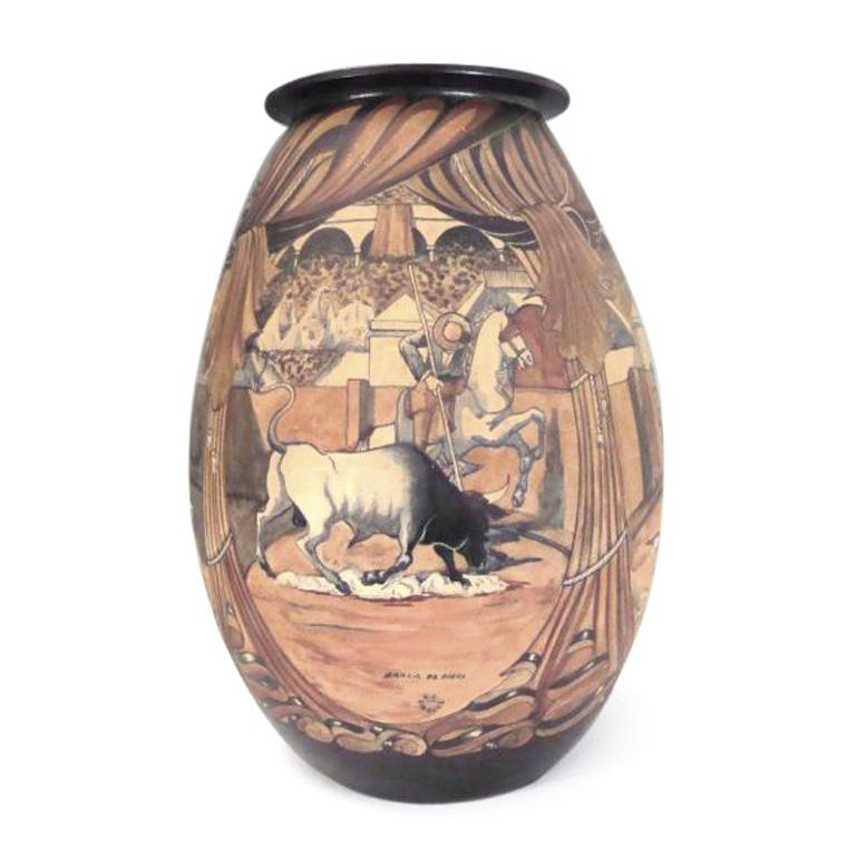 3107€ Ciboure et Pedro Garcia de Diego(1904-?), vase ovoïde en grès à décor de scènes tauromachiques, signé du décorateur, cachet Cibou