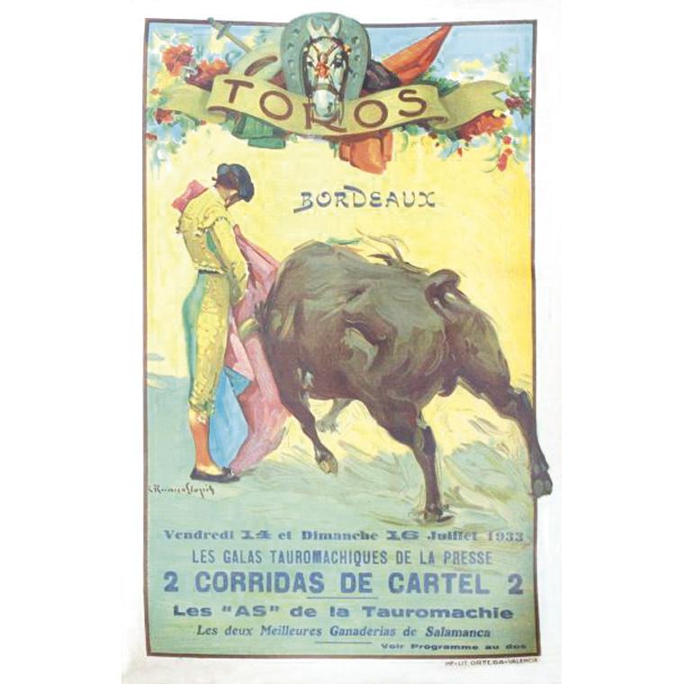 194€ C.R.Llopis, Bordeaux, 14 et 16juillet 1933, galas tauromachiques de la presse, 43x28cm, accompagné d'une affiche publicitaire