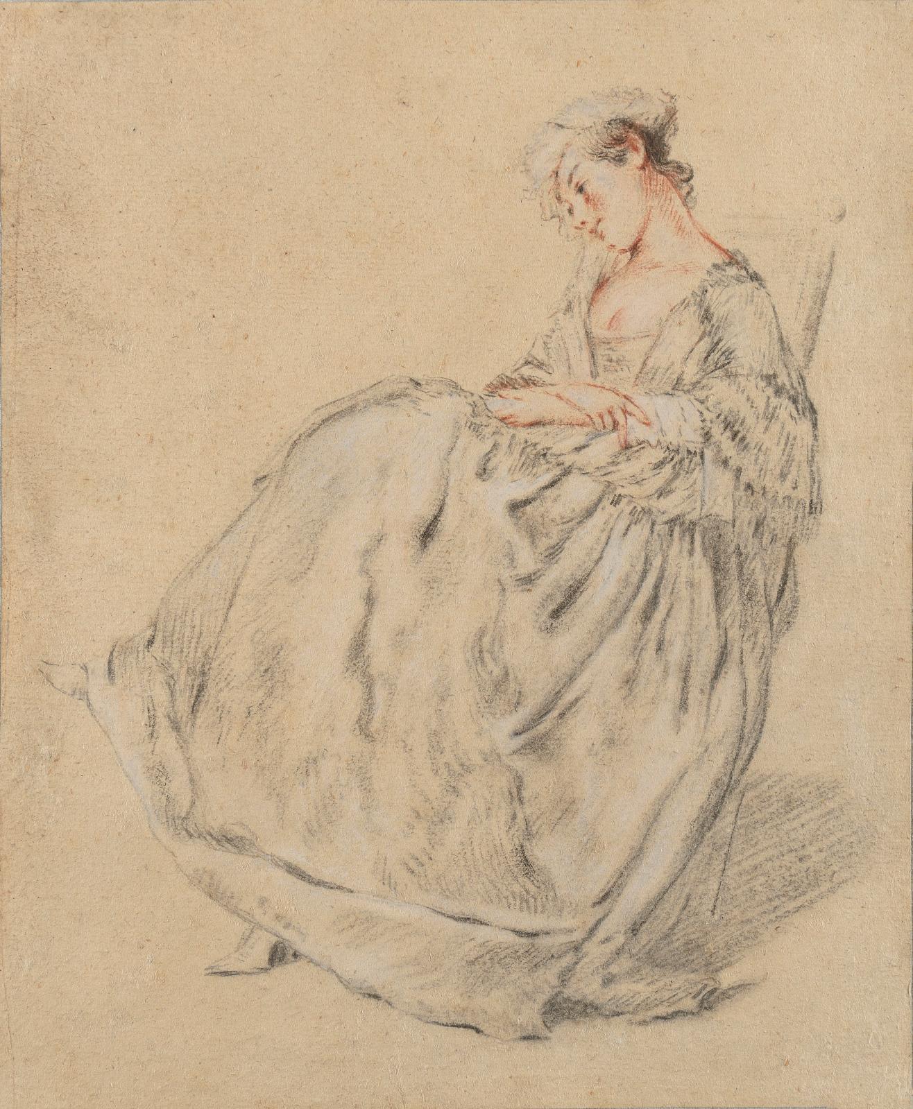 Nicolas Lancret (1690-1743), Jeune femme assise, les bras croisés, pierre noire, sanguine, rehauts de blanc sur papier, 25,4x21cm.