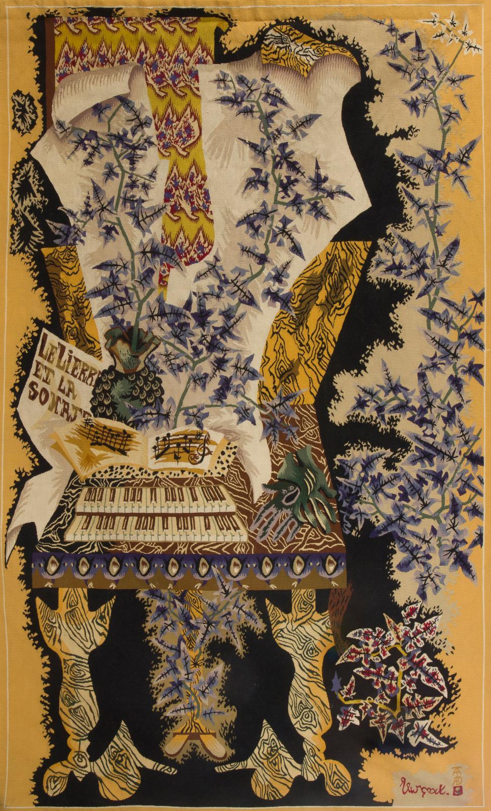 Jean Lurçat (1892-1966), Le Lierre et la Sonate, tapisserie signée tissée par les ateliers Tabard Frères et sœurs à Aubusson, n°5, 246x