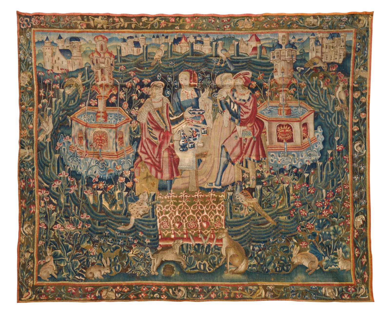 Flandres, ateliers de Tournai, premier tiers du XVIesiècle. La Collation champêtre, tapisserie en laine et soie, 260x318cm. Paris, Dro