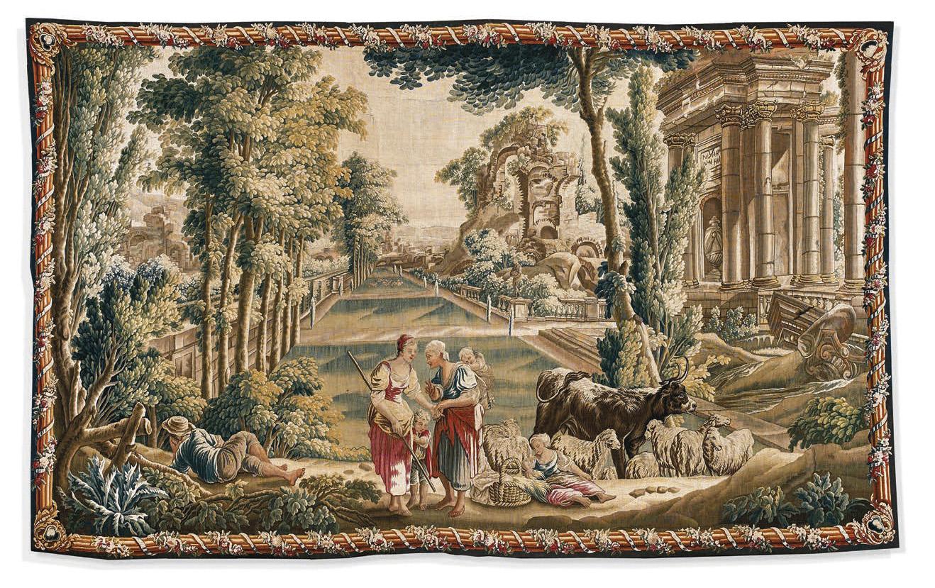 Manufacture royale d'Aubusson, époque LouisXVI. Scène champêtre dans un jardin à la française, d'après un carton de Jean-Baptiste Huet, t