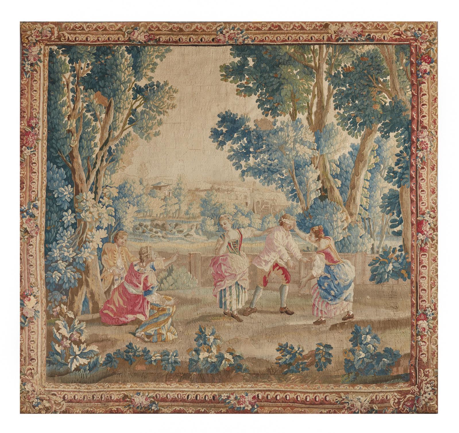 Manufacture royale d'Aubusson, seconde moitié du XVIIIesiècle. Colin-Maillard, tapisserie en laine et soie faisant partie des «Amusements