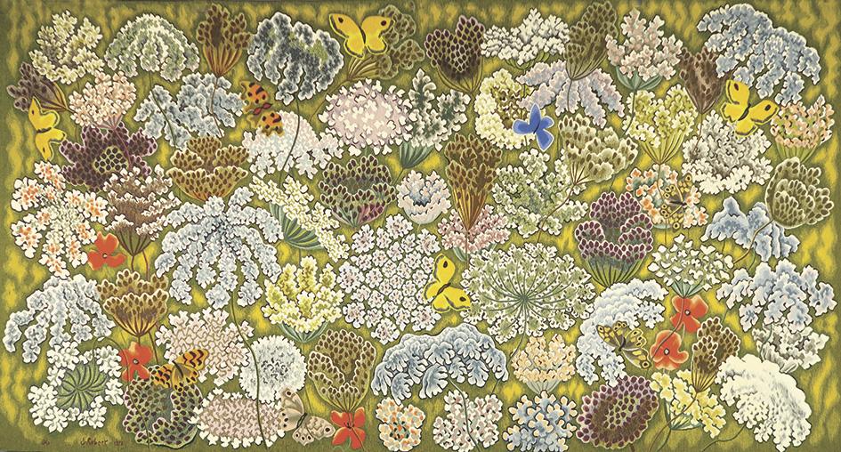 Dom Robert (1907-1997), Le Soleil pour témoin, tapisserie signée et datée 1978, exécutée en basse lisse par l'atelier de Suzanne Goubely à
