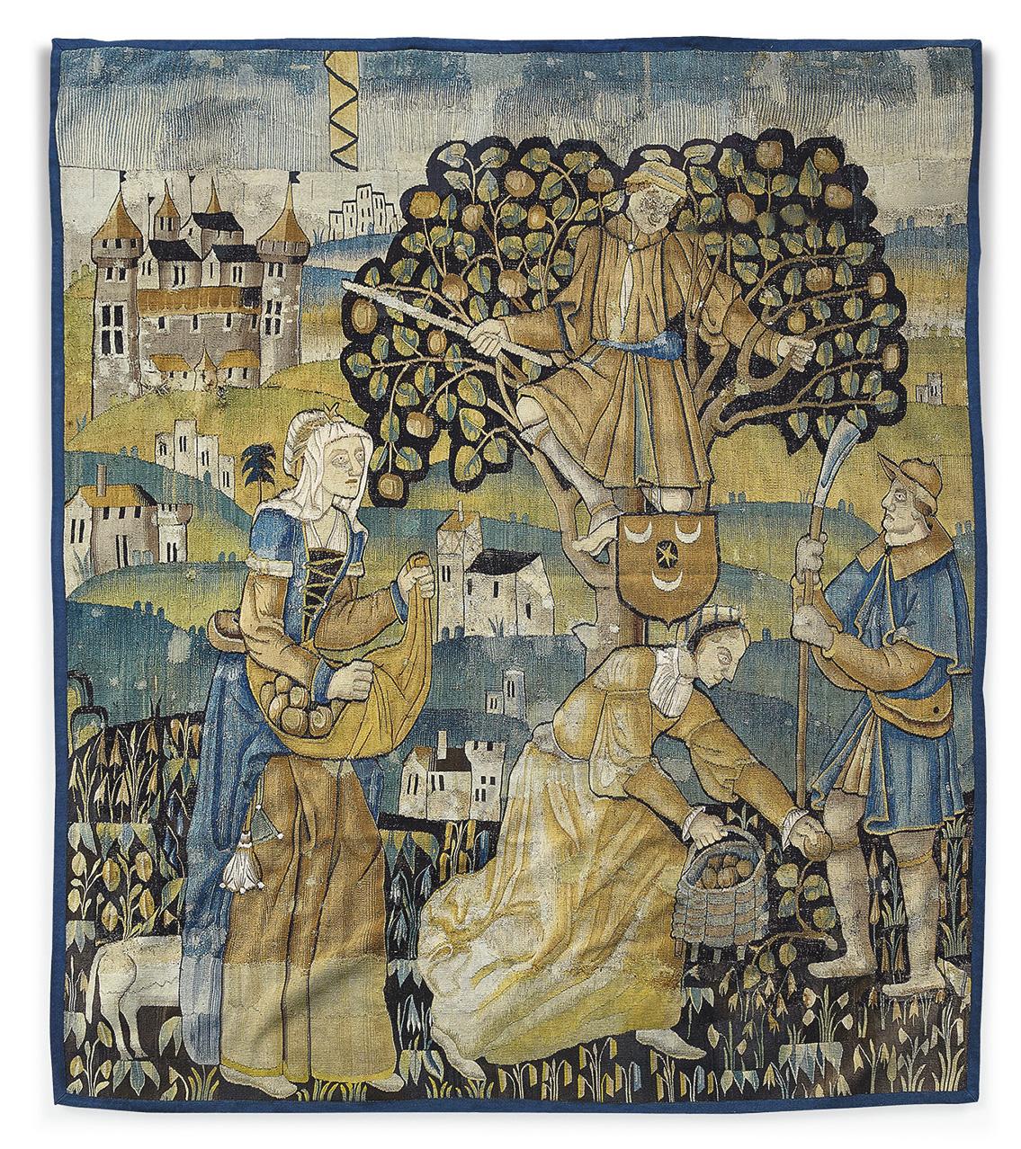 Attribué à Bruges, XVIe siècle. La Cueillette des pommes, tapisserie illustrant un épisode de la tenture de Gombault et Macée, 261x230c