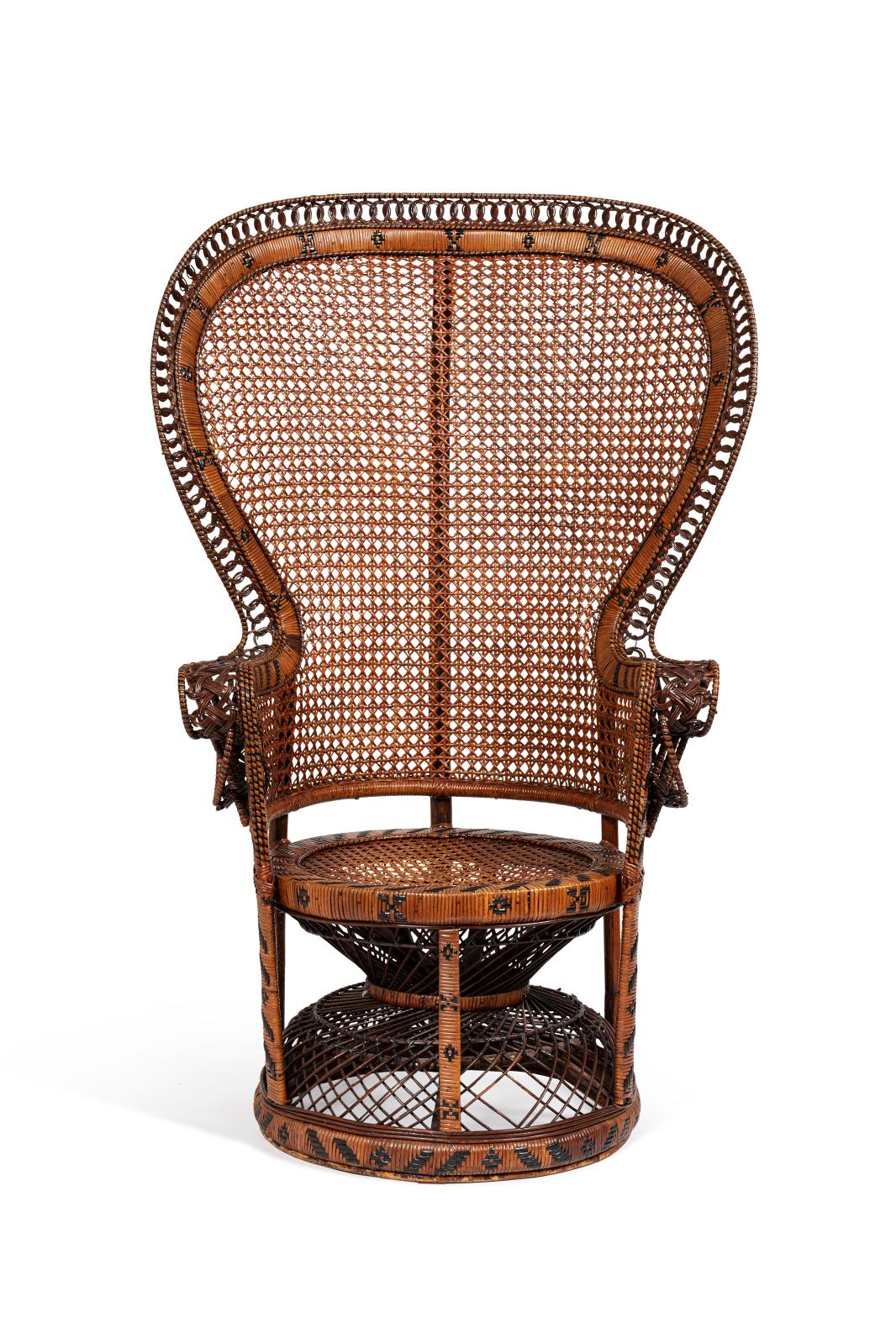 """€250 French, 20th century, """"Emmanuelle"""" armchair in stained and woven rattan, Pomaré model, fan-shaped back, 144 x 76 x 54 cm/56.69 x 29.9"""