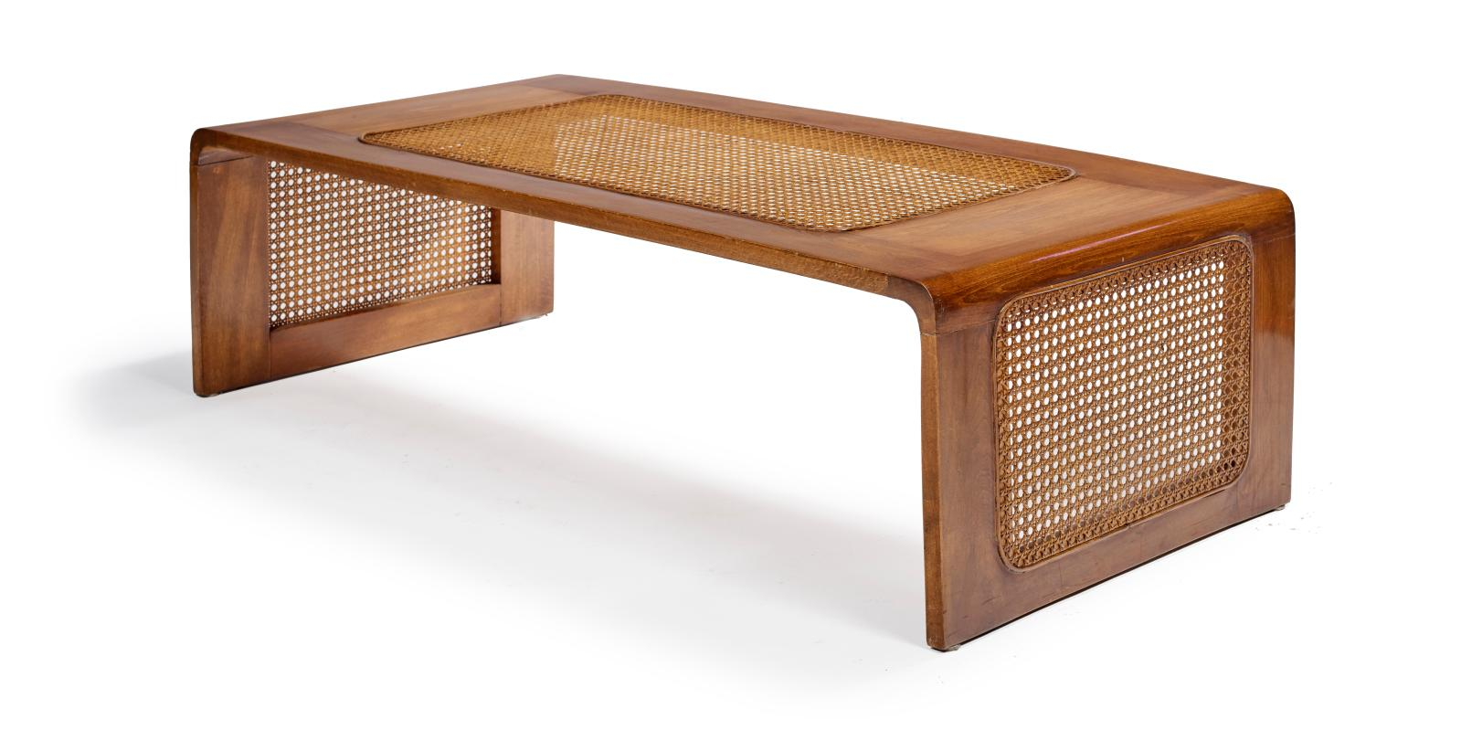 €8,576 French, 1950s–1960s, coffee table in stained beech and woven rattan, 32 x 114 x 54 cm/ 12.60 x 44.88 x 21.26 in.Paris, Drouot, Dece