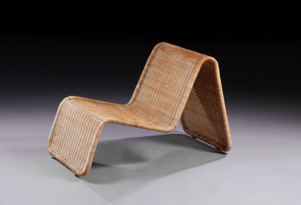 """€1,900Tito Agnoli (born 1931), """"P3"""" fireside chair, metal and braided rattan frame, 68 x 60 x 90 cm/26.77 x 23.62 x 35.43 in.Paris, Drouot"""