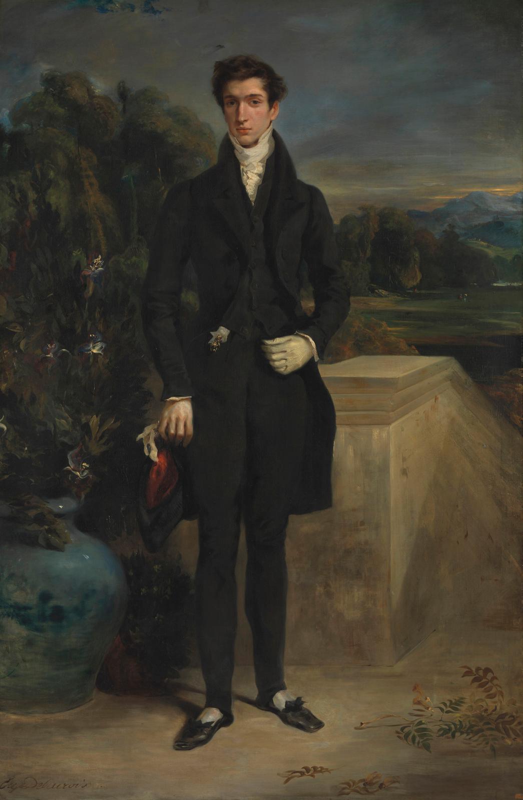 Eugène Delacroix (1798-1863), Louis-Auguste Schwiter, 1826-1830, huile sur toile, 217,8x 143,5cm (détail). The National Gallery, Londres.