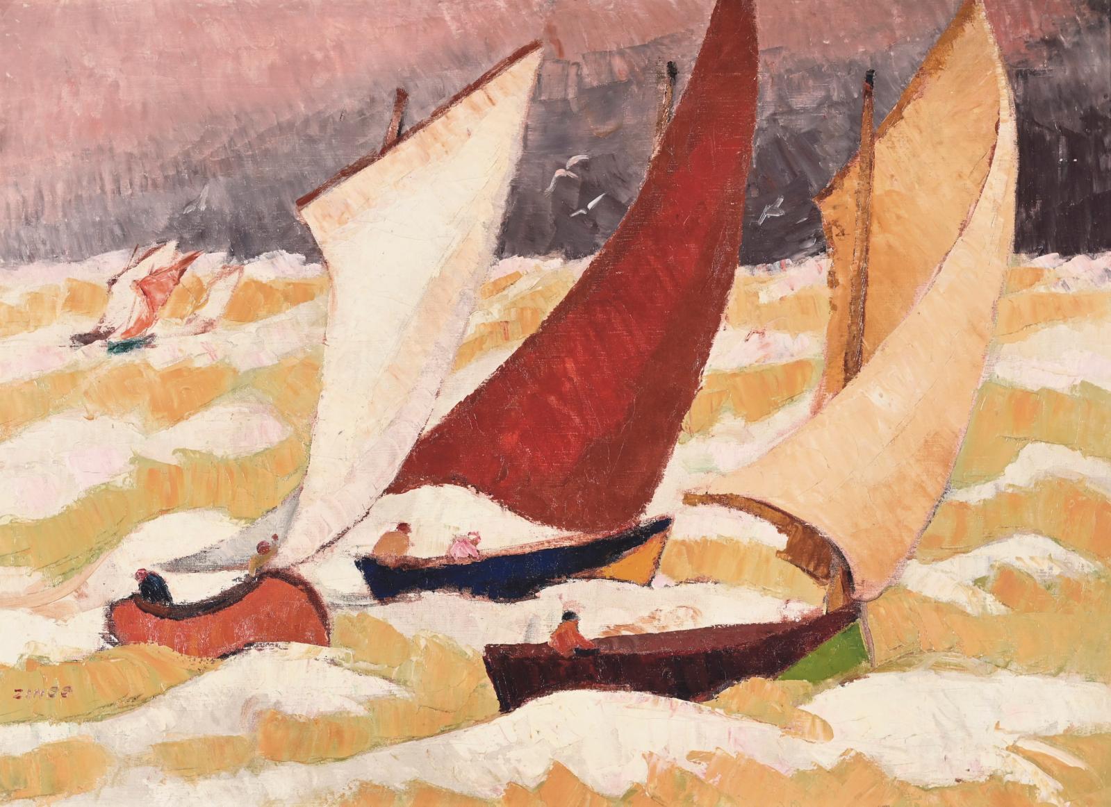 Jules-Émile Zingg (1882-1942), La Voile rouge, vers 1923, huile sur toile, 73x100cm. Adjugé : 33480€
