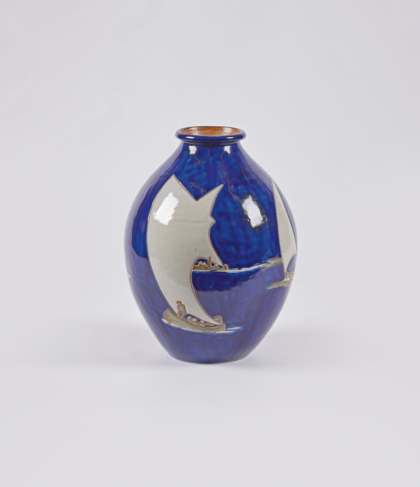 Louis Garin (1888-1959), vase globulaire en grès émaillé polychrome à fond bleu roi période Odetta, vers 1930, n°1384, signé et marqué «H