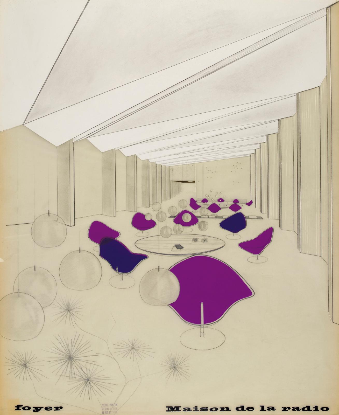 Pierre Paulin, Foyer des artistes de la Maison de la Radio, vue perspective, 1961, crayon, transfert couleur et collage de carton sur calq
