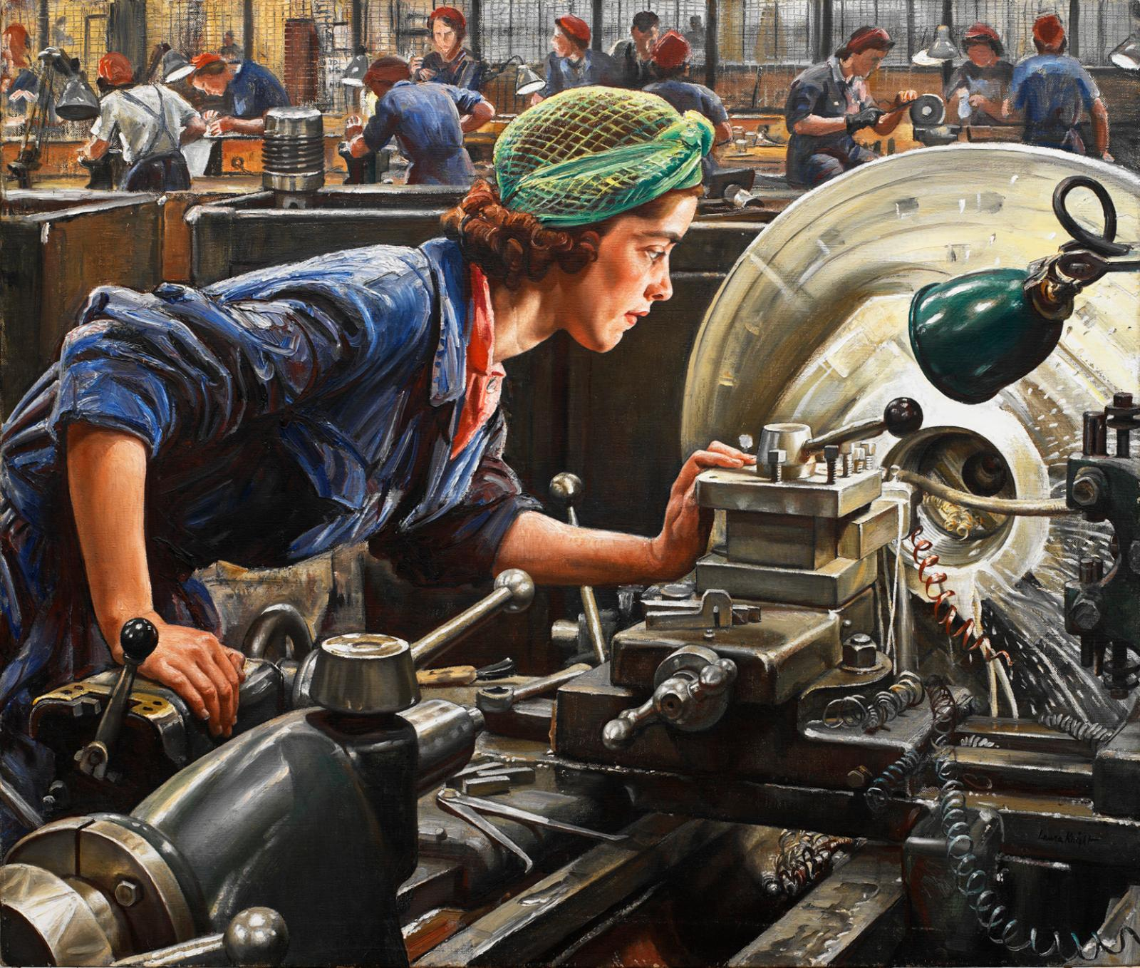Laura Knight (1877–1970), Ruby Loftus Screwing a Breech-ring, 1943, oil on canvas.© Imperial War Museums, IWM ART LD 2850. Reproduced with