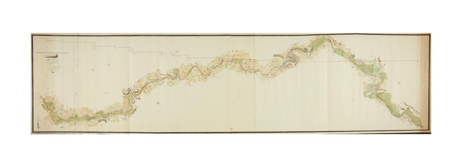 Aimé Philogène de Coniac. Carte analytique de la navigation de la rivière de Vilaine, 1er juillet, an 1800, panorama manuscrit sur papier