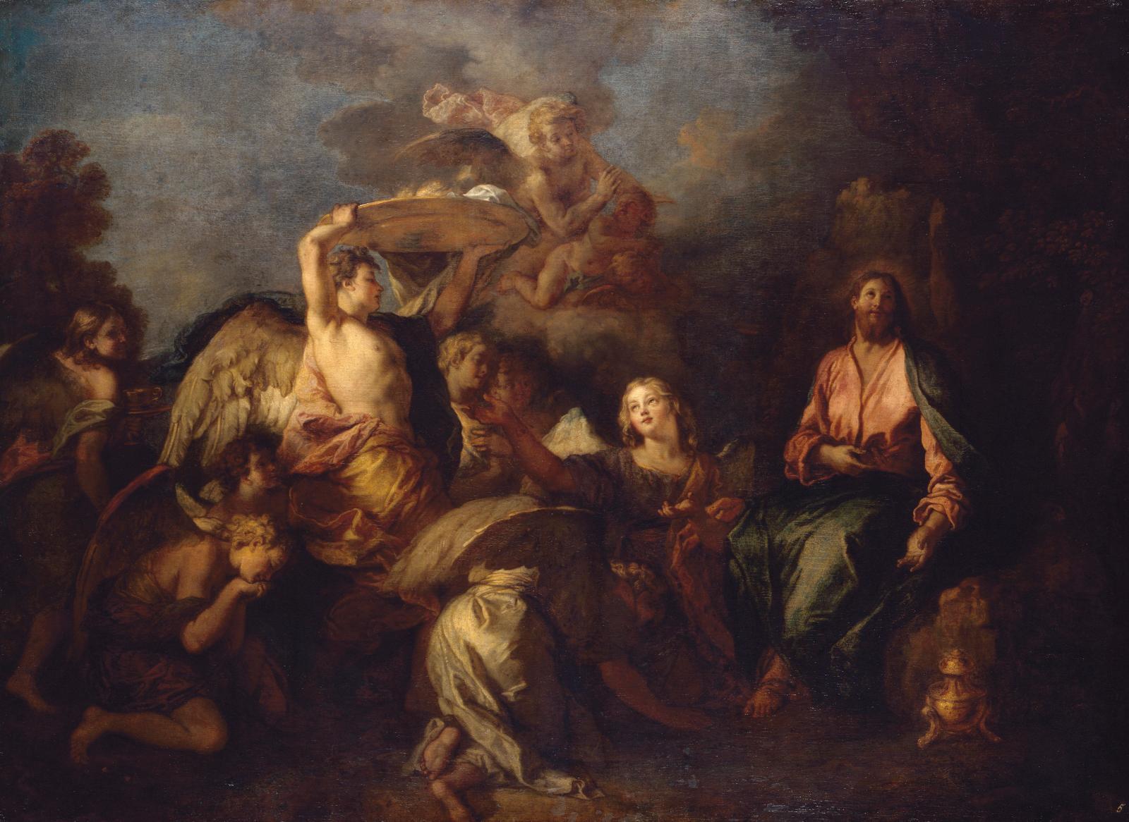 Charles de La Fosse, Le Christ dans le désert entouré d'anges (détail), vers 1690, musée d'État de l'Ermitage, Saint-Pétersbourg. Soucieux
