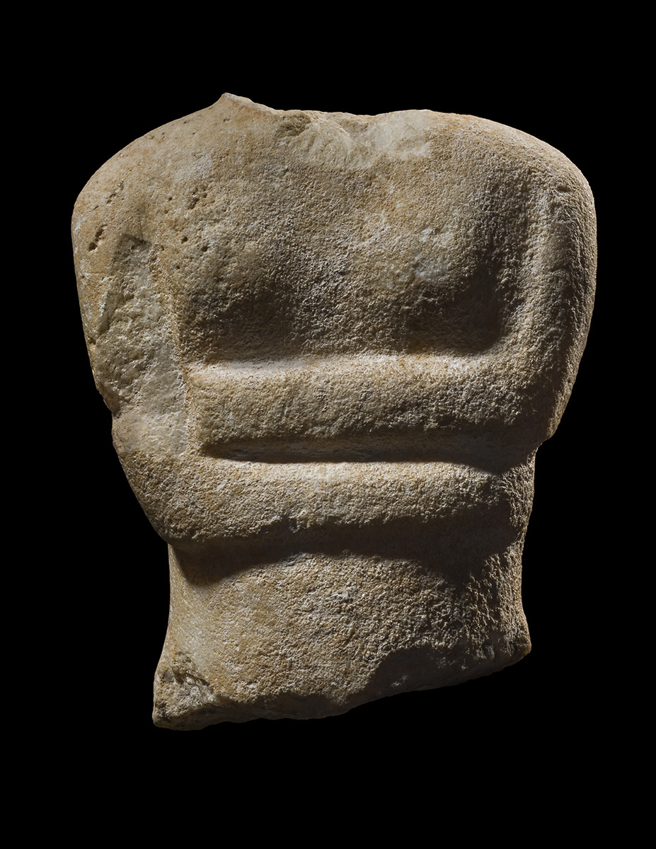 Greek Torso, Early Cycladic II, c. 2600-2500 BCE, from a Cycladic Figure, Late Spedos Type, Keros-Syros Culture, marble, 12 x 9.5 cm/4.72