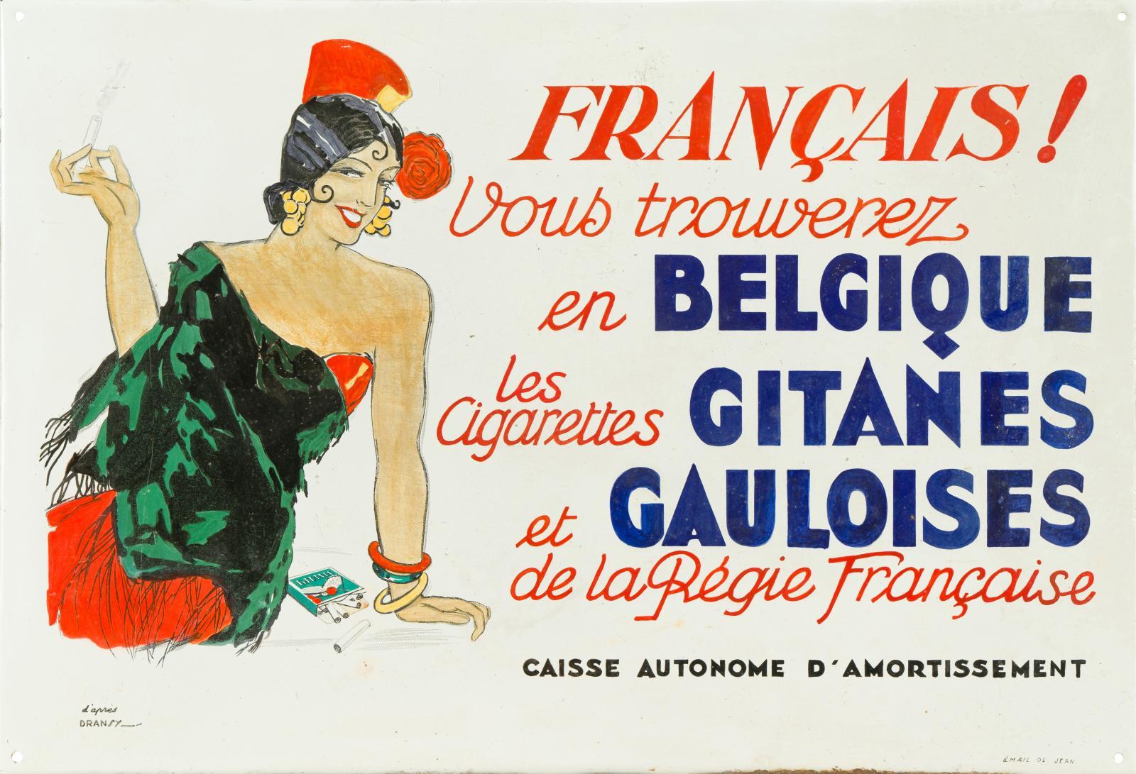 Les Cigarettes Gitanes et Gauloises, d'après Dransy, émaillerie Edmond Jean, vers 1925, 50x73cm. Estimation: 3000/4000€