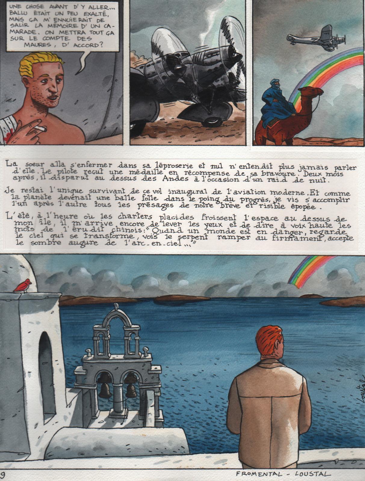 Jacques de Loustal - Fromental, L'Adieu à l'arc-en-ciel, aquarelle sur papier fort et collages, signée en bas à droite, légendée, 1989, 36