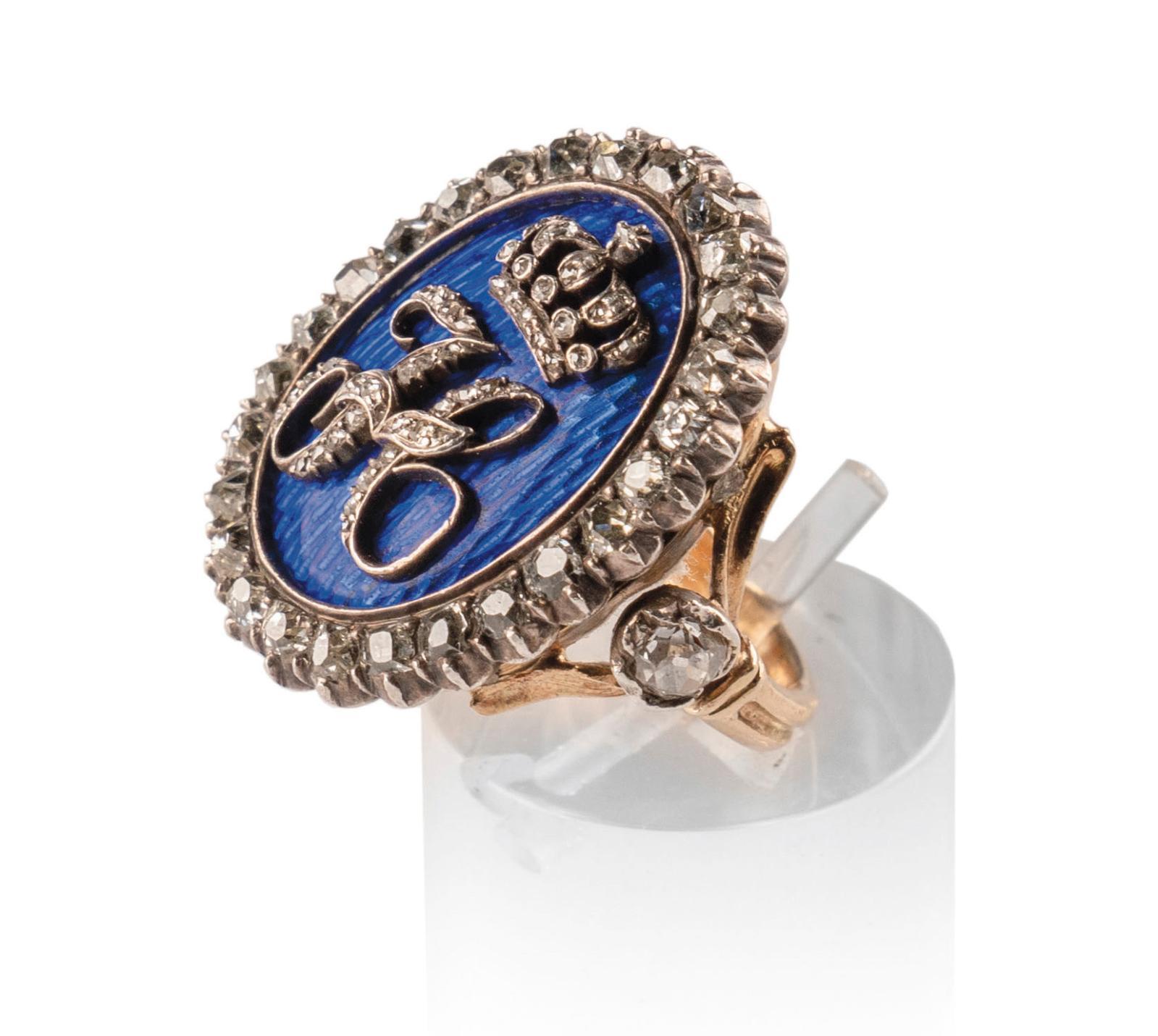 1810. Bague de la reine Hortense en or, diamants de taille ancienne et émail bleu à décor du «H» couronné. Estimation: 35000/40000€