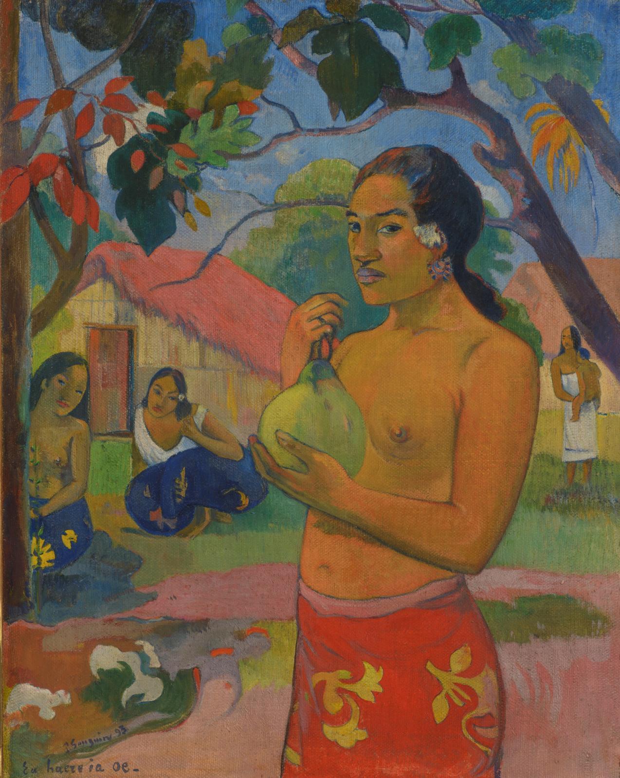 Paul Gauguin (1848-1903), Eu haere ia oe (Where are you?), Woman Holding a Fruit, 1893, oil on canvas, 92.5 x 73.5 cm/36.41 x 28.93 in.Sta