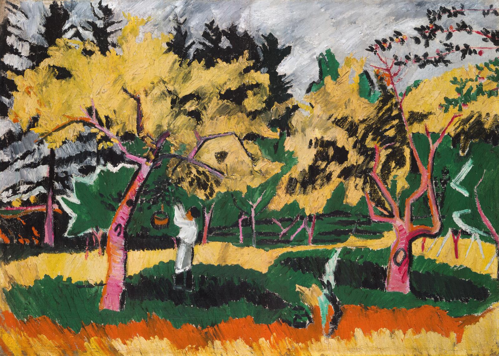 Natalia Gontcharova, Verger en automne (Orchard in Autumn, 1909), oil on canvas, 72 x 103 cm/28.35 x 40.55 in.Tretyakov National Gallery,