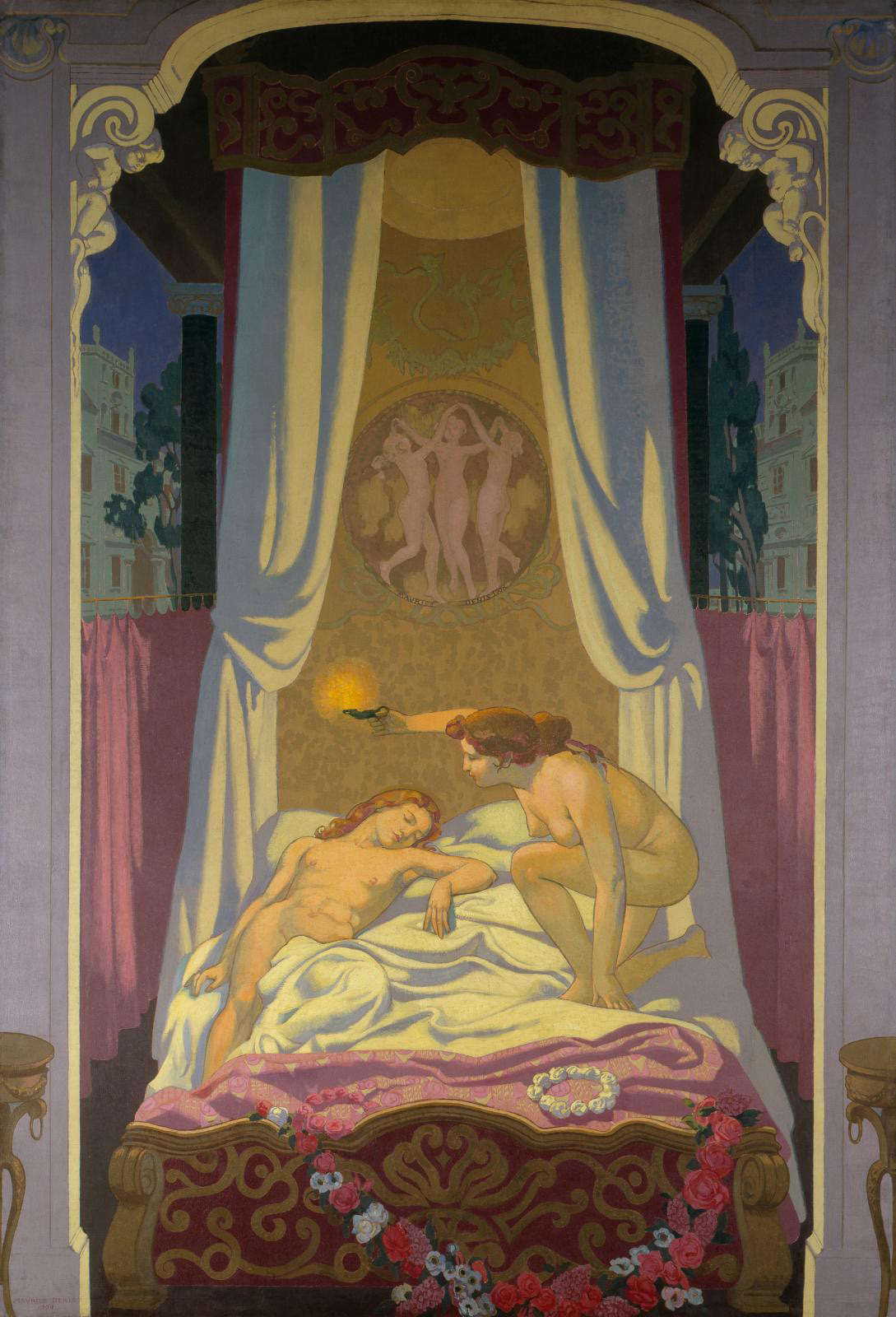 Maurice Denis (1870-1943), L'Histoire de Psyché (The Story of Psyche, 1908–1909), oil on canvas, 395 x 274.5 cm/155.51 x 108.07 in (detail