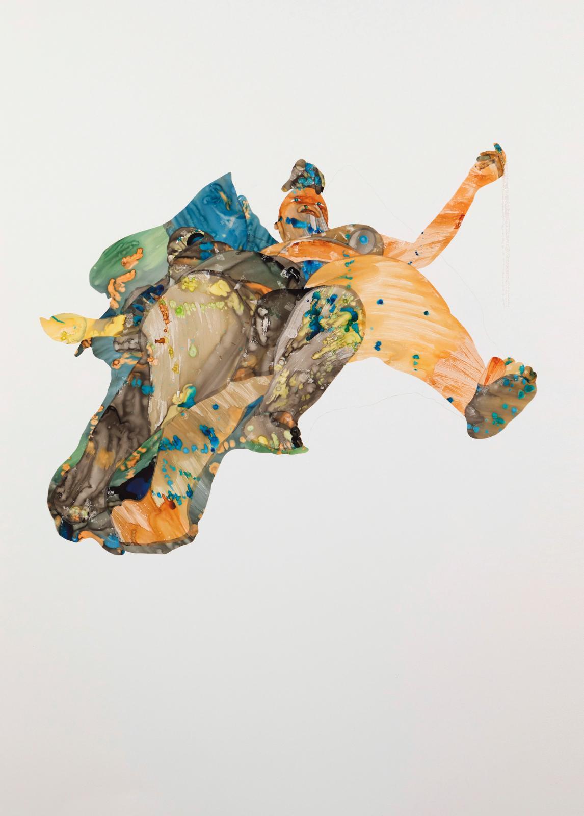 M.Florine Démosthène (née en 1971), Love Long Awaited, 2021, encre, Mylar, paillettes et pigment en stick sur papier,111,8 x 76,2 cm.. C
