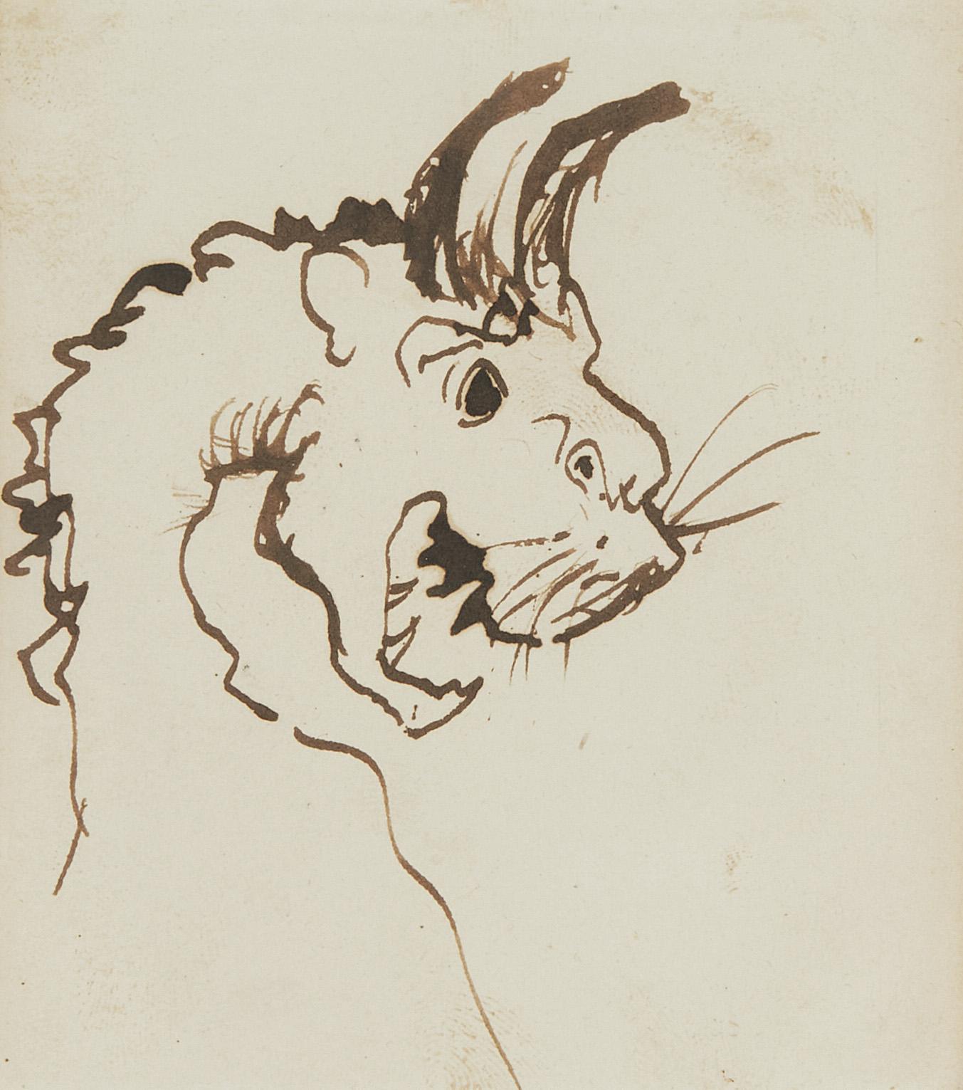 Victor Hugo (1802-1885), Tête de gargouille, plume et encre brune sur papier, 8,5 x 7,5 cm.Estimate: €1/1.5 M