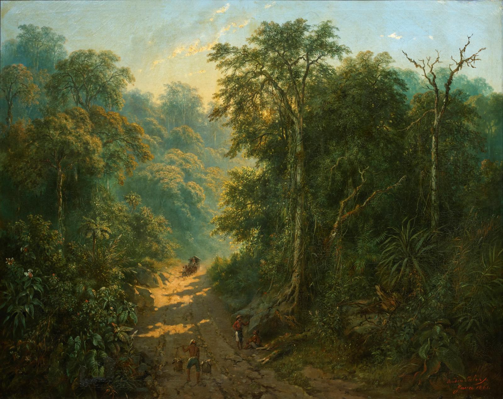 Raden Syarif Bastaman Saleh (1811-1880), Route descendant du mont Megamendung (Road Descending from Mount Megamendung), 1861, oil on canva
