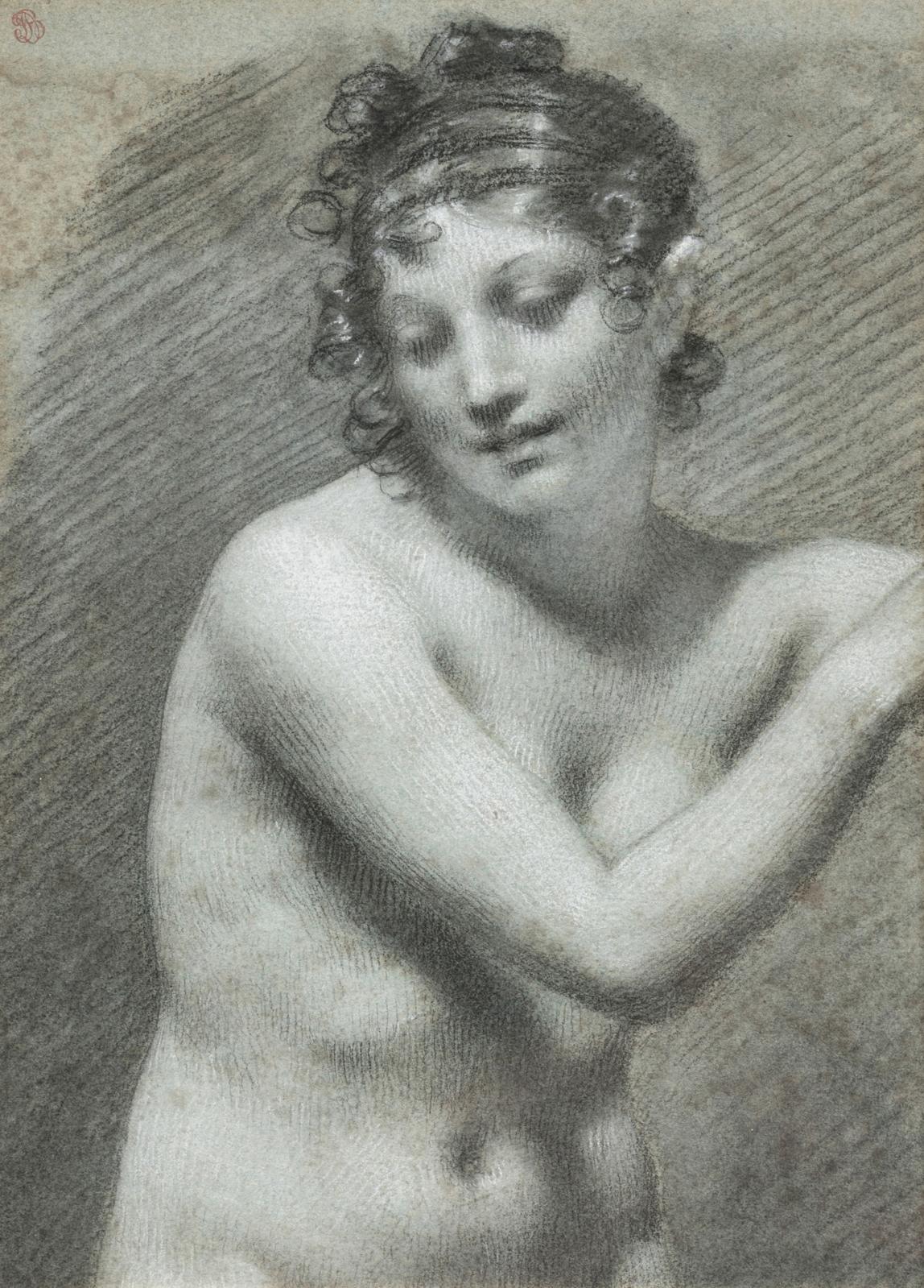 Pierre-Paul Prud'hon (1758-1823), Étude d'après Marguerite, pierre noire et rehauts de blanc sur papier bleu, 24,5?17,5cm. Adjugé: 114