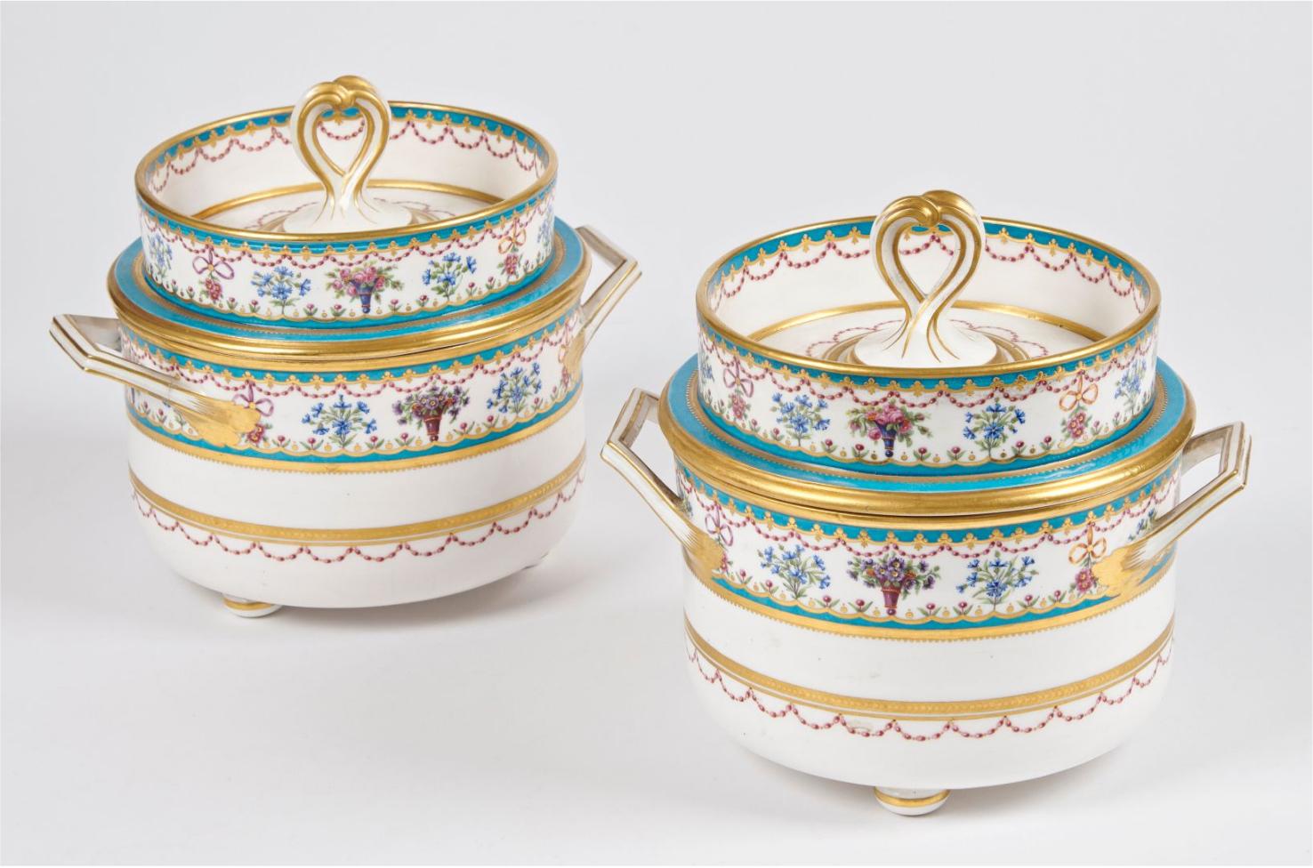 """€2,921Sèvres, two soft-paste porcelain lidded coolers from the """"Festons bleu céleste"""" service, 1788, h. 20.5 cm/8 in.Paris, Drouot, Januar"""