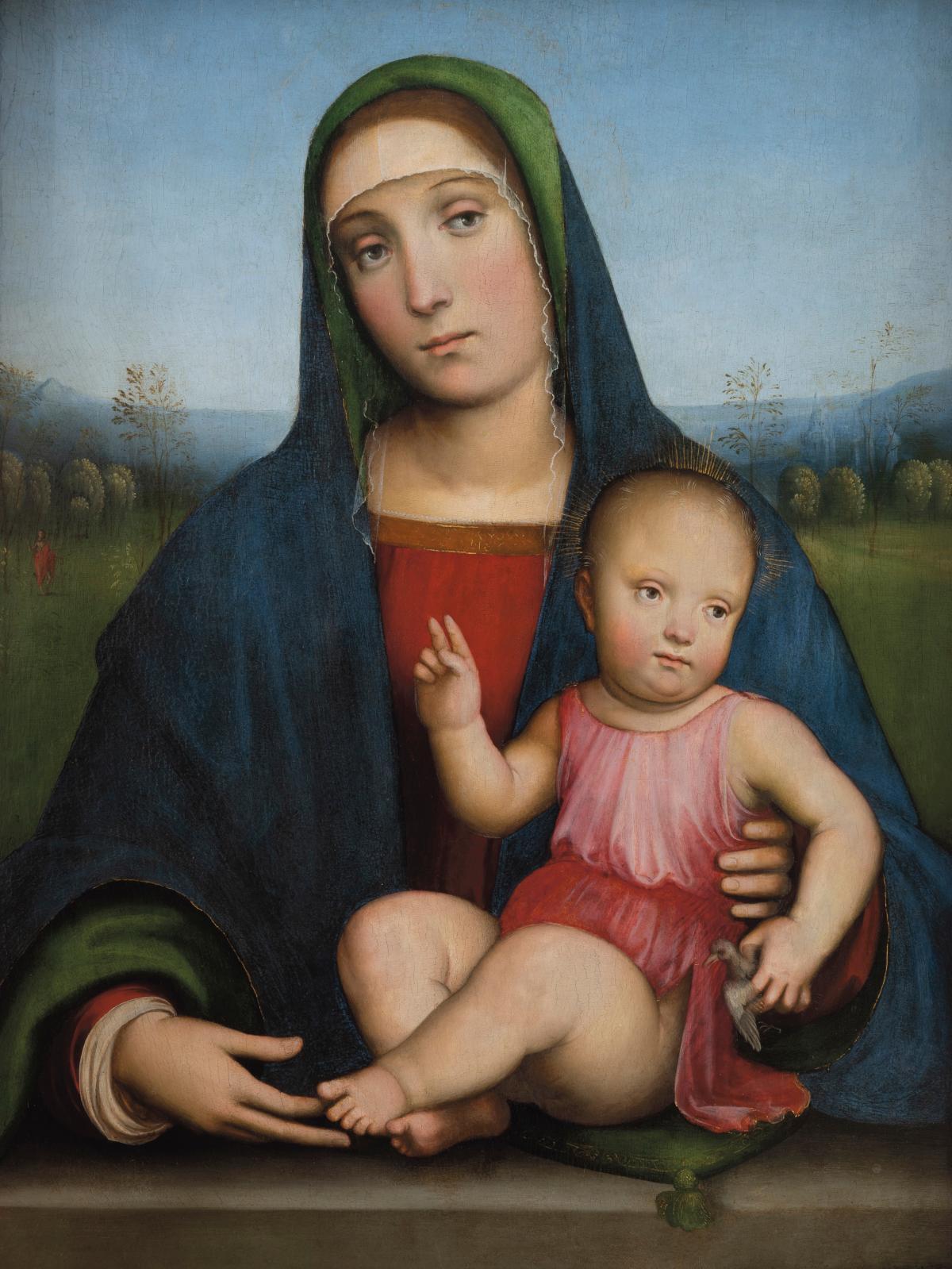 Francesco Francia (1450-1517), Vierge à l'Enfant assis tenant un chardonneret, vers 1490, abbaye royale de Chaalis. © Bruno Cohen