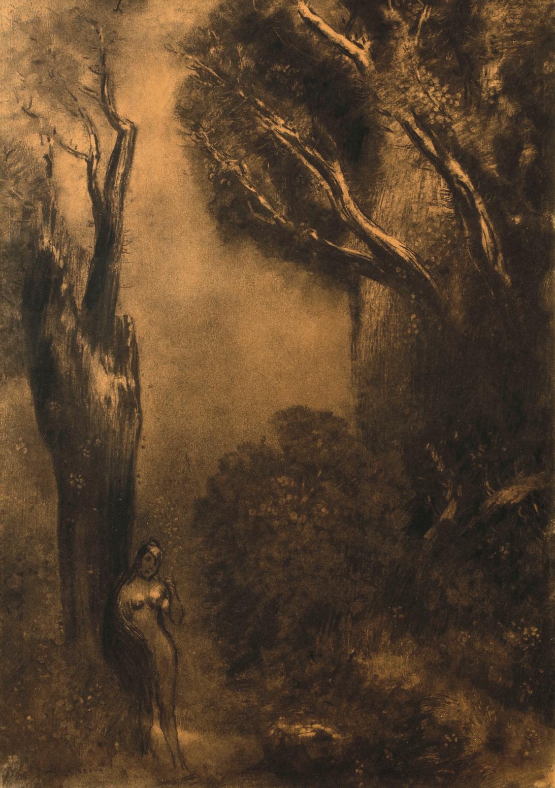 Odilon Redon (1840-1916),Femme nue dans la forêt enchantée, fusain sur papier, 51x36cm. Paris, Drouot, 9 novembre 2018.Ader OVV. Cabin