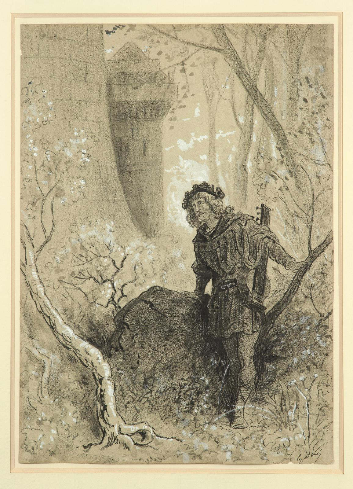 Gustave Doré (1832-1883), Le ménestrel Blondel de Nesle, dessin au crayon gras avec rehauts de blanc sur papier gris, 43,5x31cm. Paris,