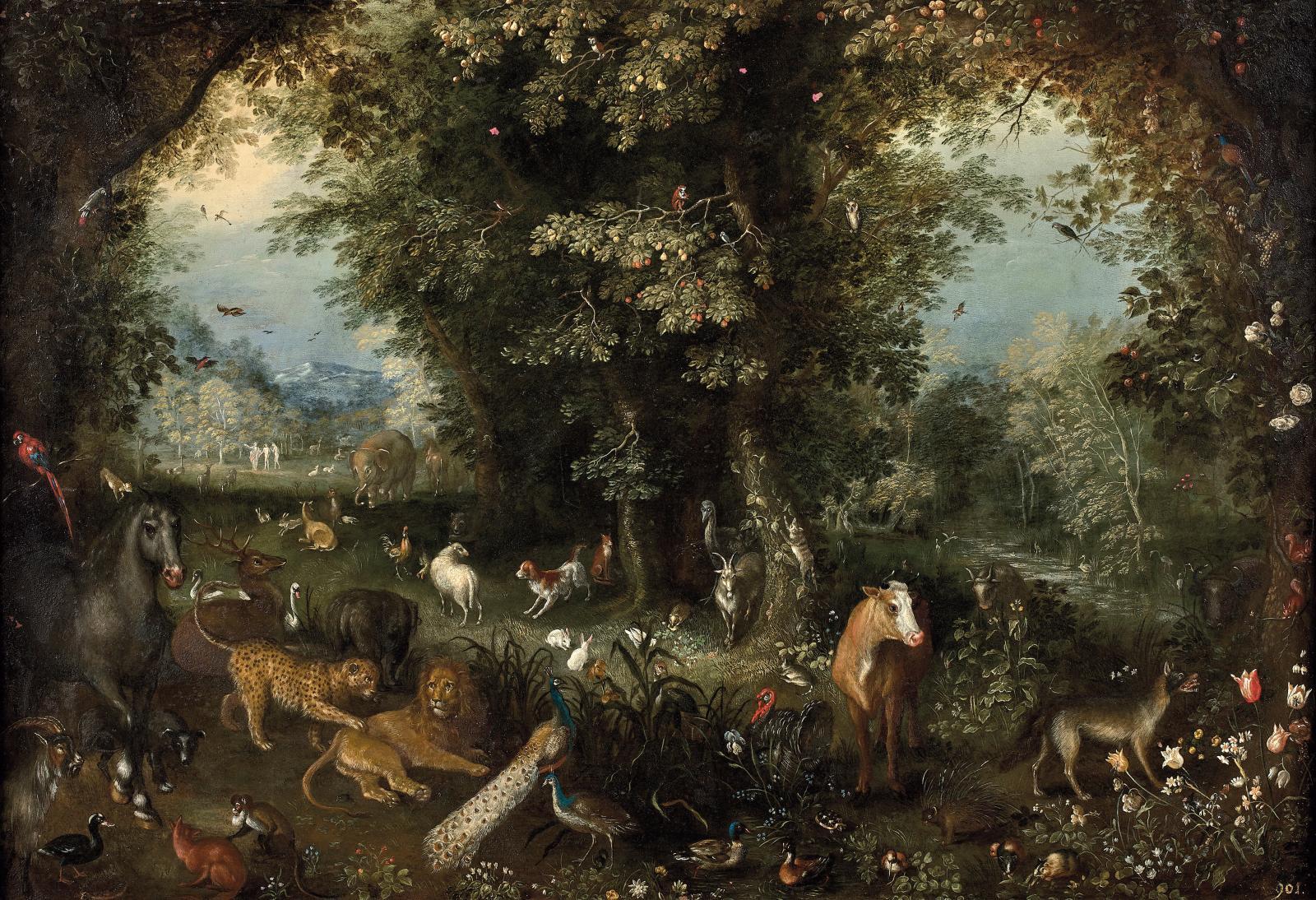 Attribué à Jan II Bruegel, dit le Jeune (1601-1678), «Les Quatre Éléments», dont Le Feu, La Terre (reproduit), L'Air et L'Eau,suite de qua