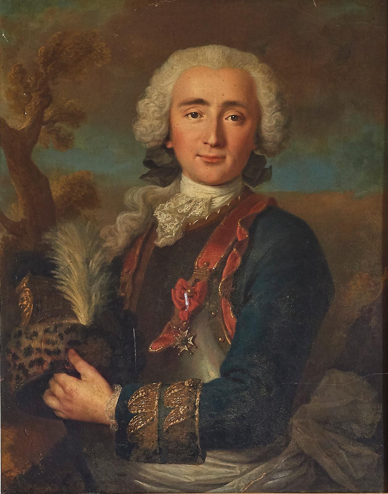 Milieu du XVIIIesiècle. Portrait d'André Desilles de Cambernon, dit «héros de Nancy», en habit d'officier du régiment Mestre de camp géné