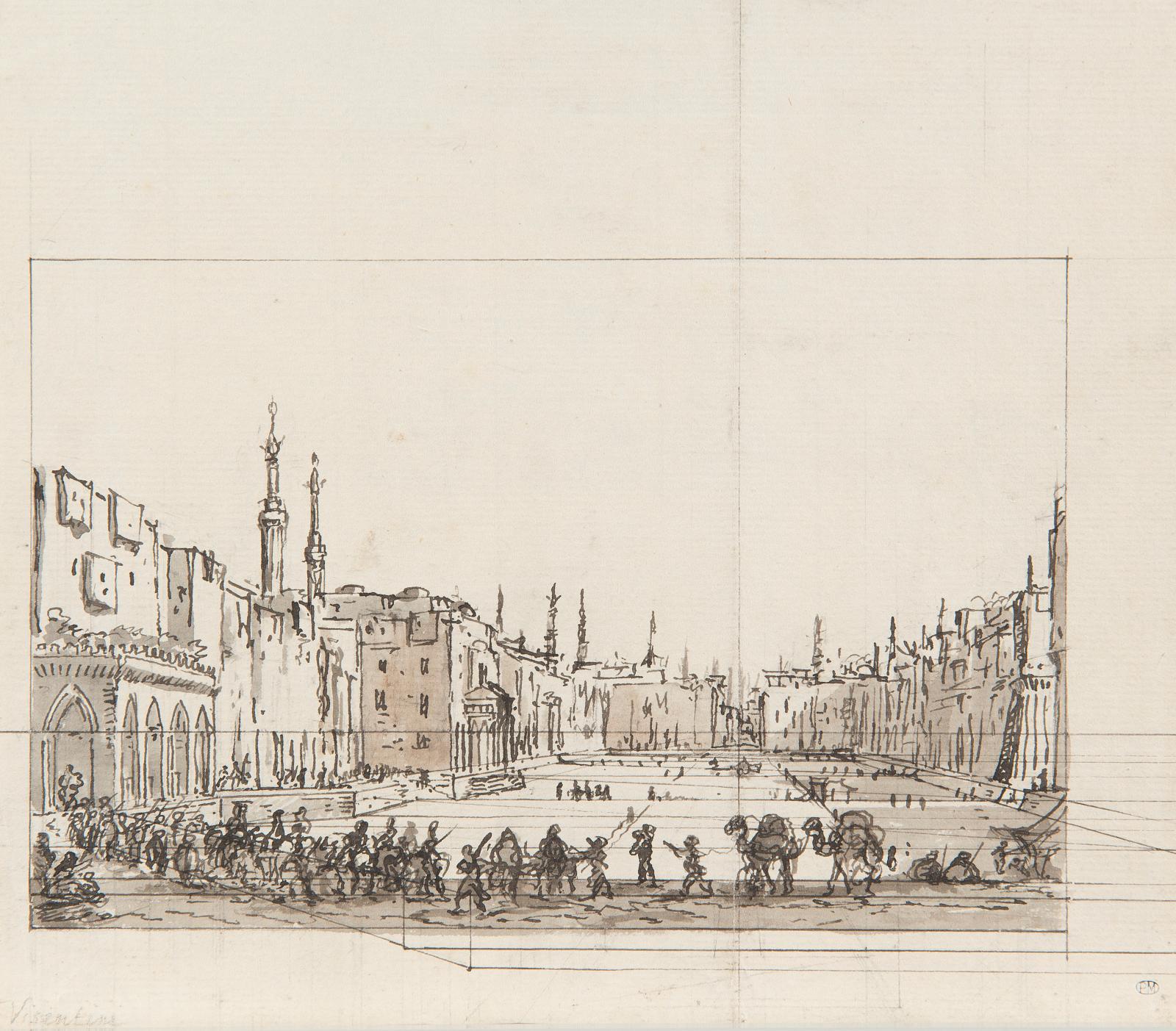 Luigi Mayer (1755-1803), Une procession au Caire (recto, détail reproduit); Vue de Jérusalem avec le dôme du Rocher (verso), pierre noire, plume et e