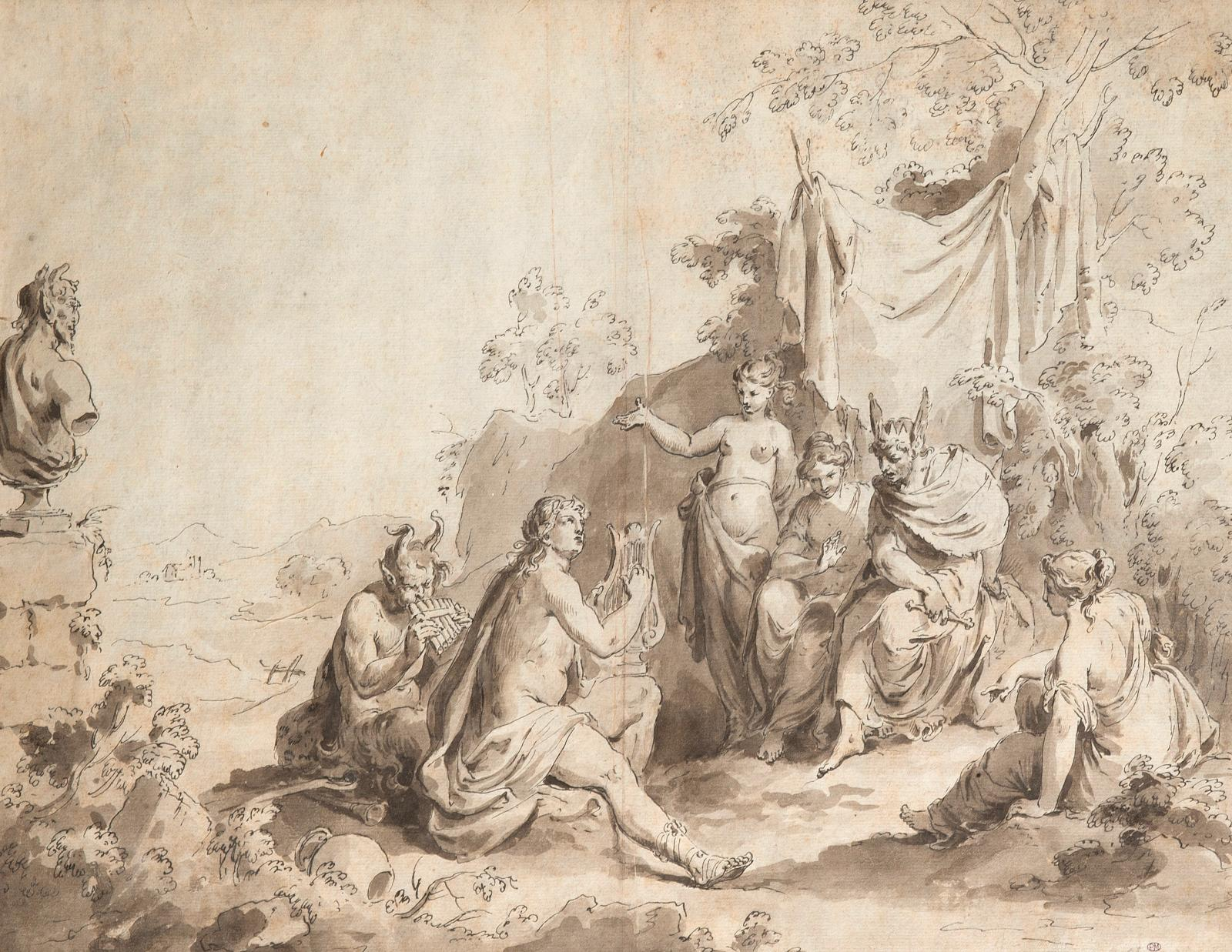 Pietro Antonio Novelli (1729-1804), Le Jugement de Midas, plume et encre noire, lavis gris, 27,6x38,6cm, détail. Estimation: 2000/3000€