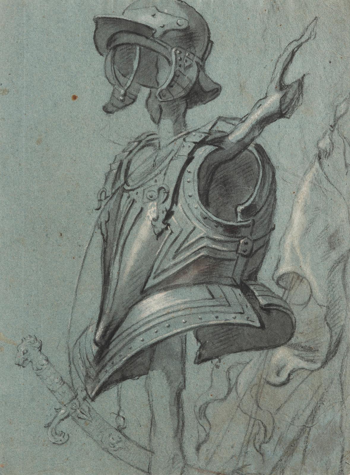 Attribué à Erasmus QuellinusI (1607-1678), Trophée d'armes, pierre noire, lavis brun, rehauts de blanc sur papier bleu, 38,7x28,5cm (détail). Est