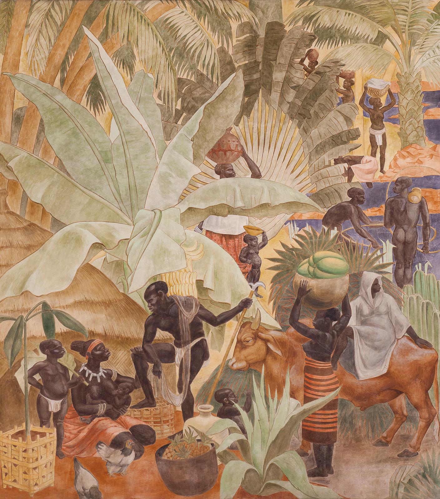 Fresques du Forum, par Pierre-Henri Ducos de la Haille (1889-1972) et ses élèves des Beaux-Arts (détail). ©Palais de la Porte Dorée